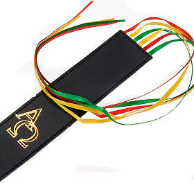 Bookmark for Bible in leather, 6 ribbons Alpha Omega s2