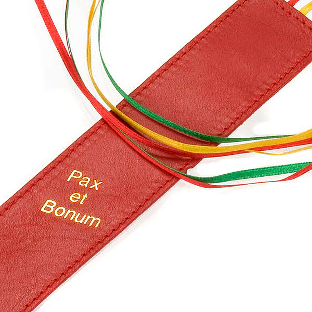 Bookmark for Bible in leather, 6 ribbons Pax et Bonum 4