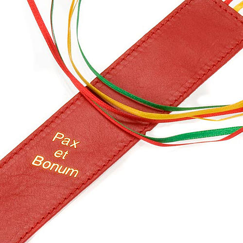 Bookmark for Bible in leather, 6 ribbons Pax et Bonum 2