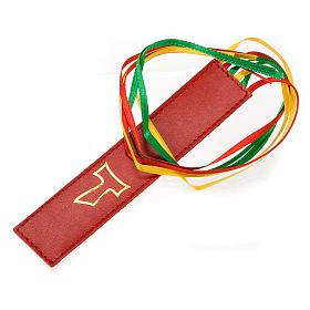 Bookmark for Lihurgy of Hours in leather, 6 ribbons Tau s2