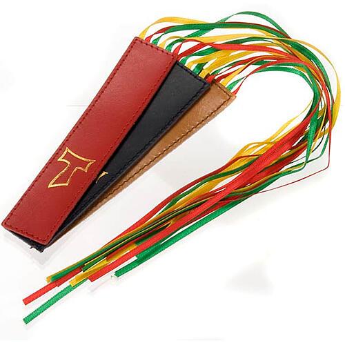 Marcador de livro Liturgia das Horas couro 6 fitas tau 1