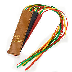 Bookmark for Lihurgy of Hours in leather, 6 ribbons Pax et Bonum s1
