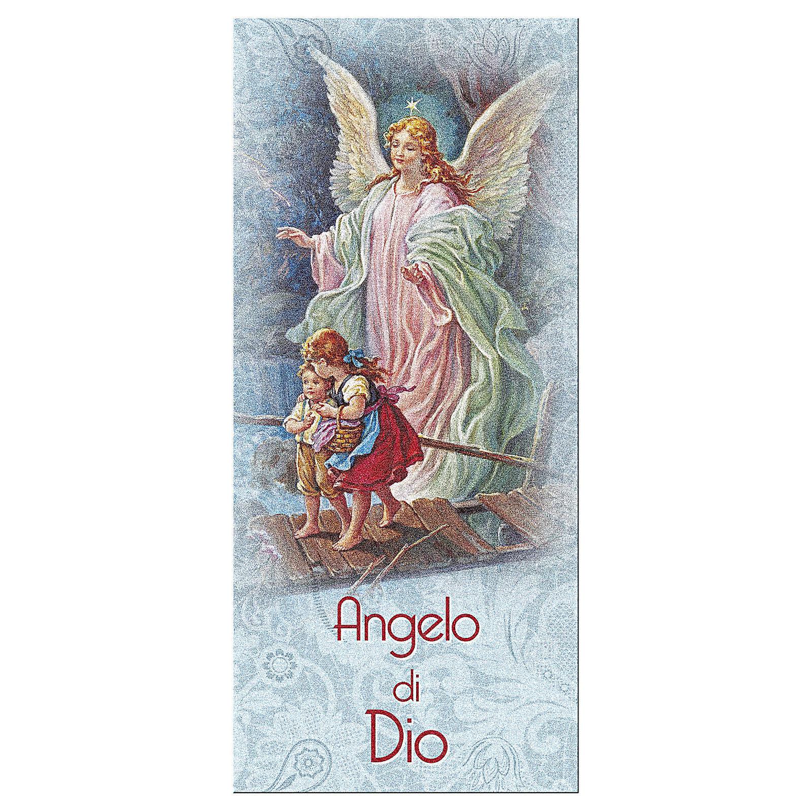 Bookmark in pearl cardboard Angel on the bridge and Angel of God prayer ITA 15x5 cm 4