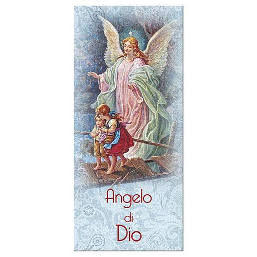 Bookmark in pearl cardboard Angel on the bridge and Angel of God prayer ITA 15x5 cm 1
