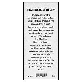 Segnalibro carta perlata Sant'Antonio da Padova Preghiera 15x5 cm ITA s2