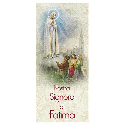 Zakładka karton perłowy 15X5 cm Nasza Pani z Fatimy Modlitwa IT 1
