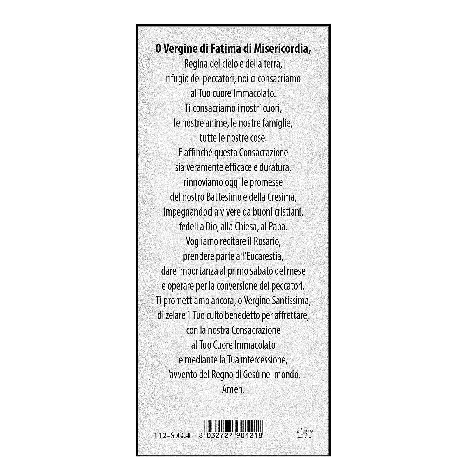 Marcador papel cartão perolado N. Sra de Fátima 15x5 cm ITA 4