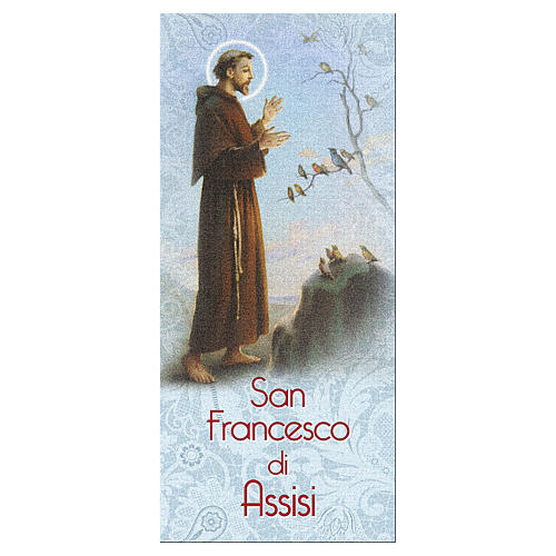 Bookmark in pearl cardboard Saint Francis of Assisi with prayer 15x5 cm ITA 1