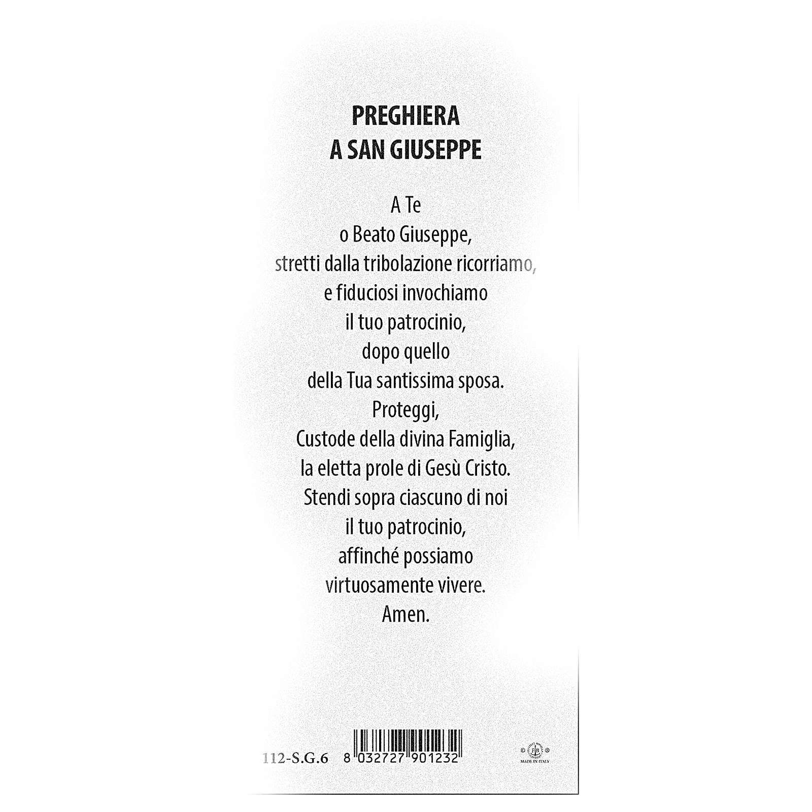 Segnalibro carta perlata San Giuseppe Preghiera 15x5 cm ITA 4