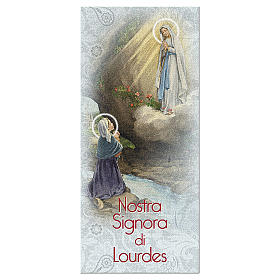 Bookmarks: Bookmark in pearl cardboard Our Lady of Lourdes Novena 15x5 cm ITA