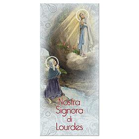 Segnalibro carta perlata Apparizione di Lourdes Novena 15x5 cm ITA s1