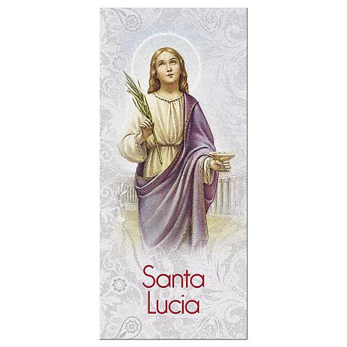 Segnalibro carta perlata Santa Lucia Preghiera 15x5 cm ITA 1