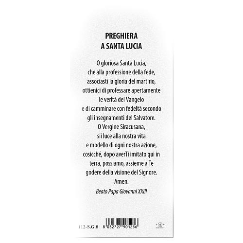 Bookmark in pearl cardboard Saint Lucy with prayer 15x5 cm ITA 2