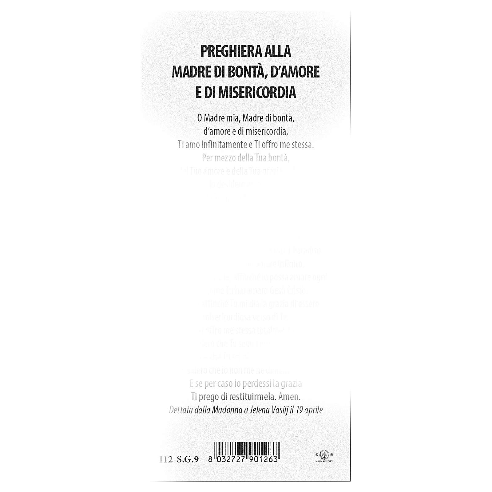 Segnalibro carta perlata Ns. Signora Medjugorje Preghiera 15x5 cm ITA 4