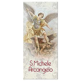 Bookmark in pearl cardboard Saint Archangel Micheal prayer 15x5 cm ITA s1