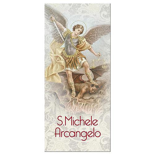 Bookmark in pearl cardboard Saint Archangel Micheal prayer 15x5 cm ITA 1