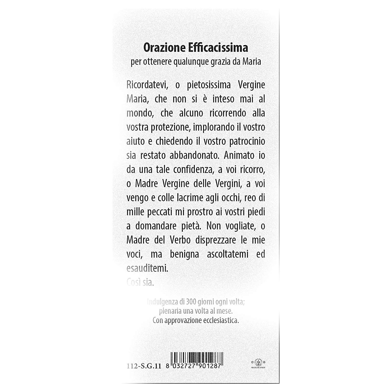 Segnalibro carta perlata Madonna Miracolosa Orazione 15x5 cm ITA 4