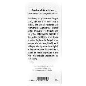 Segnalibro carta perlata Madonna Miracolosa Orazione 15x5 cm ITA s2
