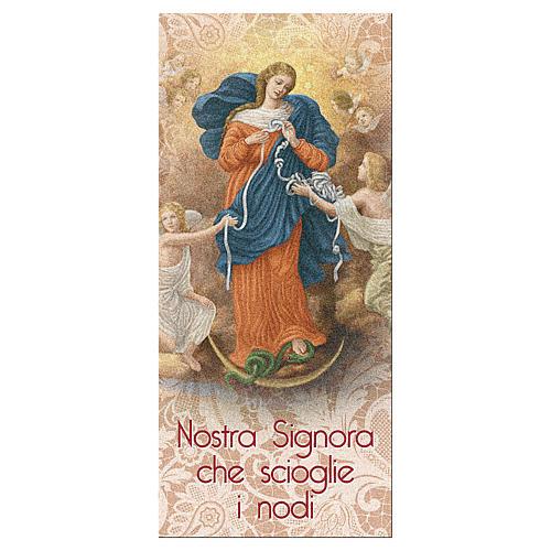 Segnalibro carta perlata Madonna scioglie Nodi Preghiera 15x5 cm ITA 1