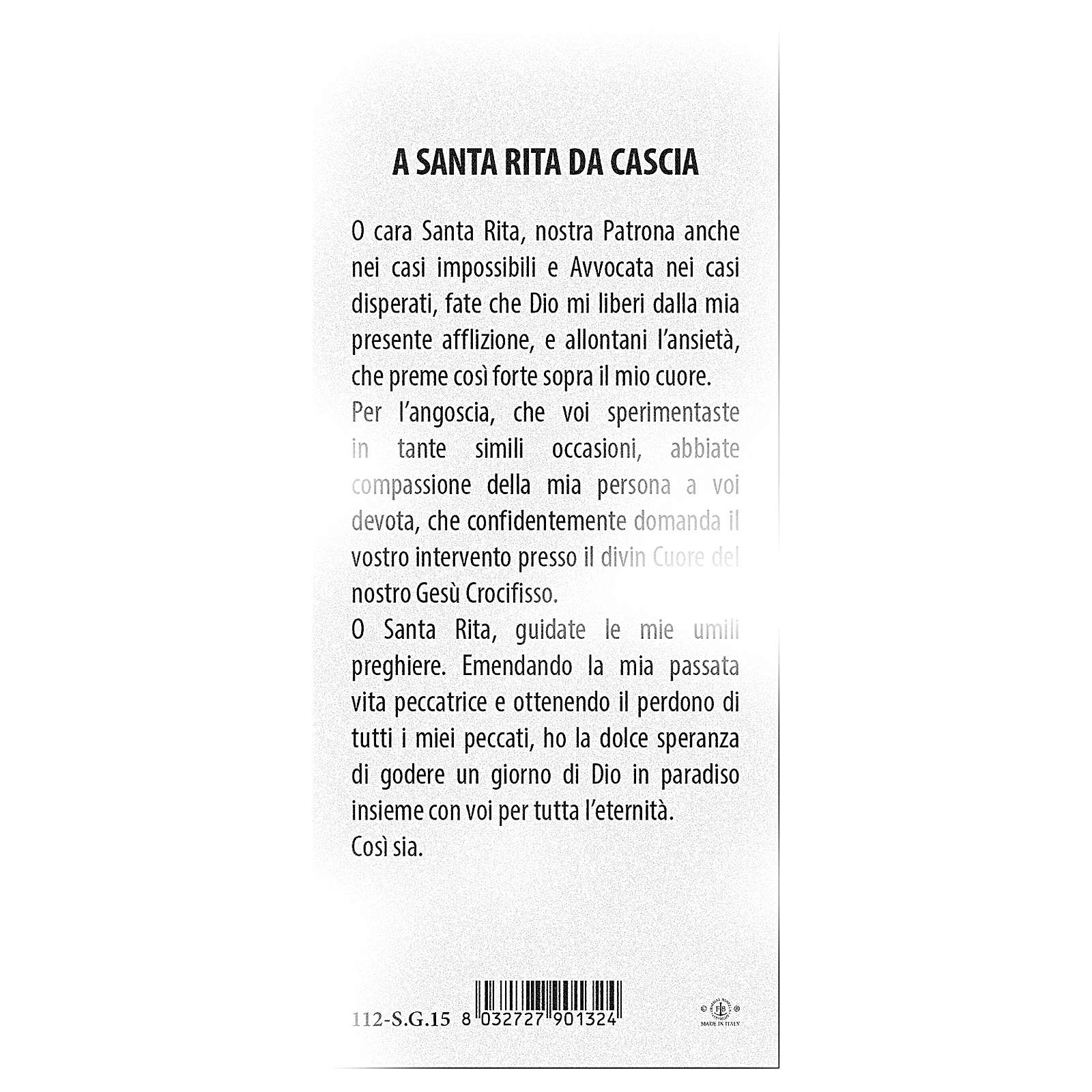 Bookmark in pearl cardboard Saint Rota of Cascia prayer 15x5 cm ITA 4