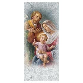 Segnalibro carta perlata Sacra Famiglia Preghiera 15x5 cm ITA s1