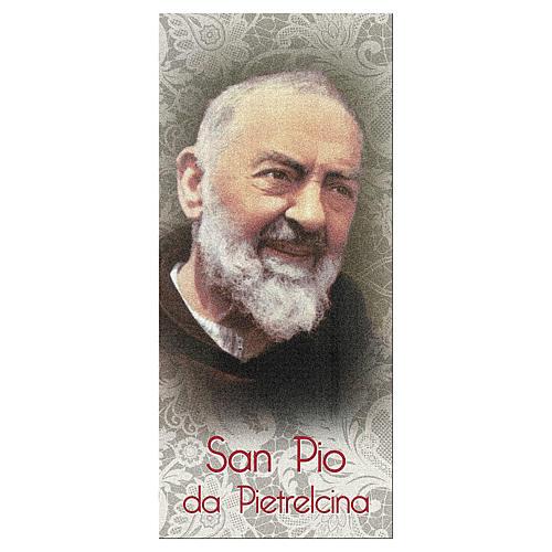 Segnalibro carta perlata Padre Pio Gesù è Tuo 15x5 cm ITA 1