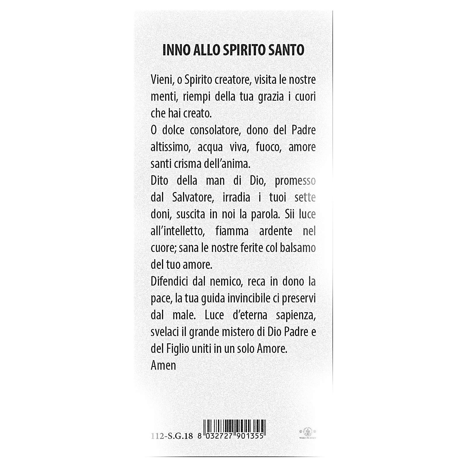 Bookmark in pearl cardboard hymn to the Holy Spirit for Pentecost 15x5 cm ITA 4