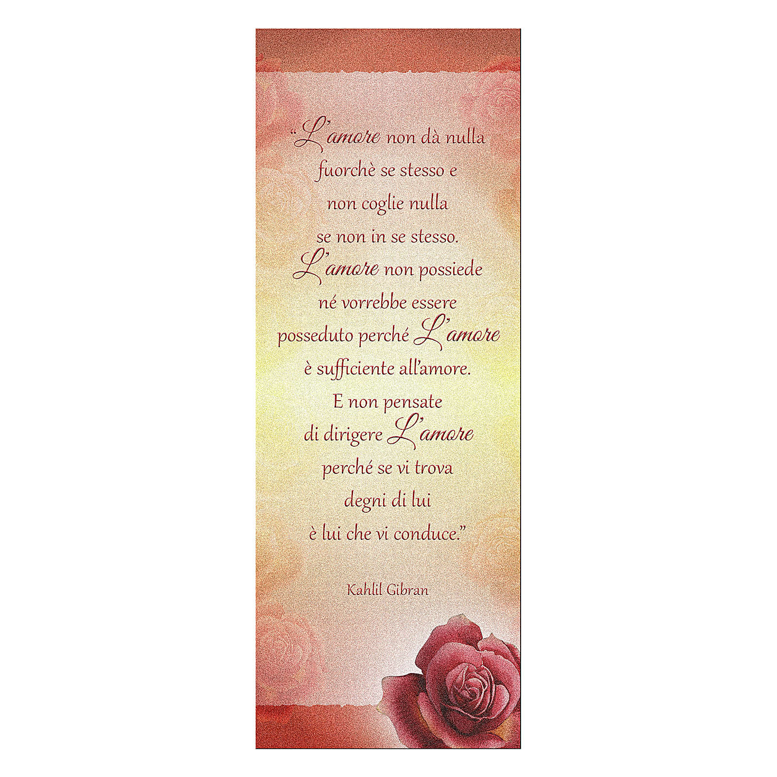 Bookmark in pearl cardboard with Red Rose and love writing K. Gibran 15x5 cm 4