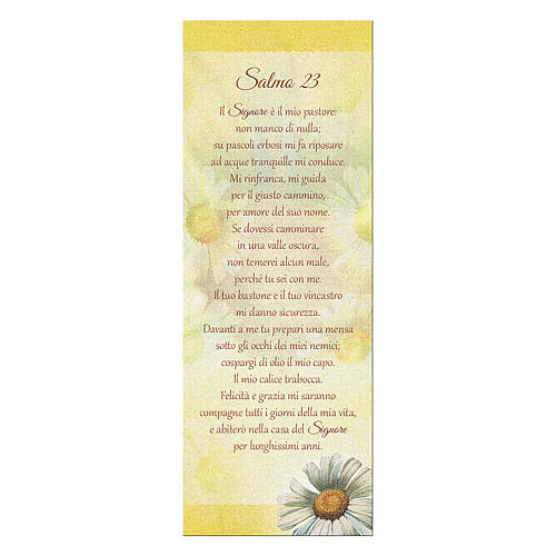 Bookmark in pearl cardboard with daisy and psalm 23 15x5 cm 1
