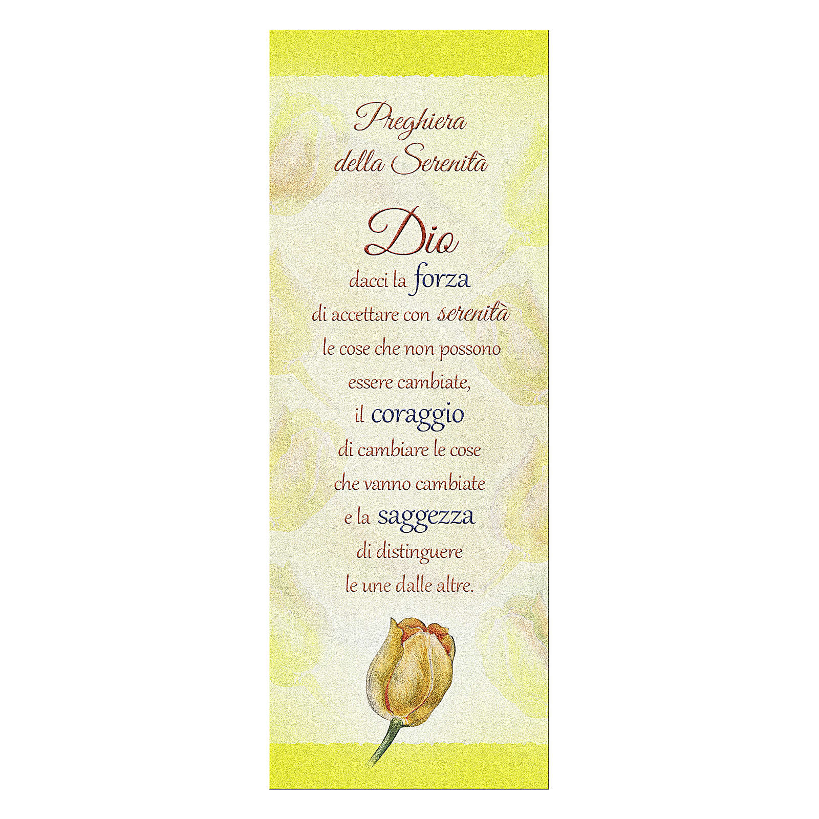 Bookmark in pearl cardboard with tulip and serenity prayer 4