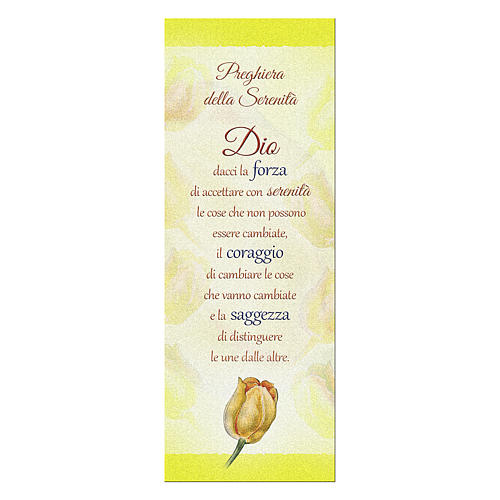 Bookmark in pearl cardboard with tulip and serenity prayer 1