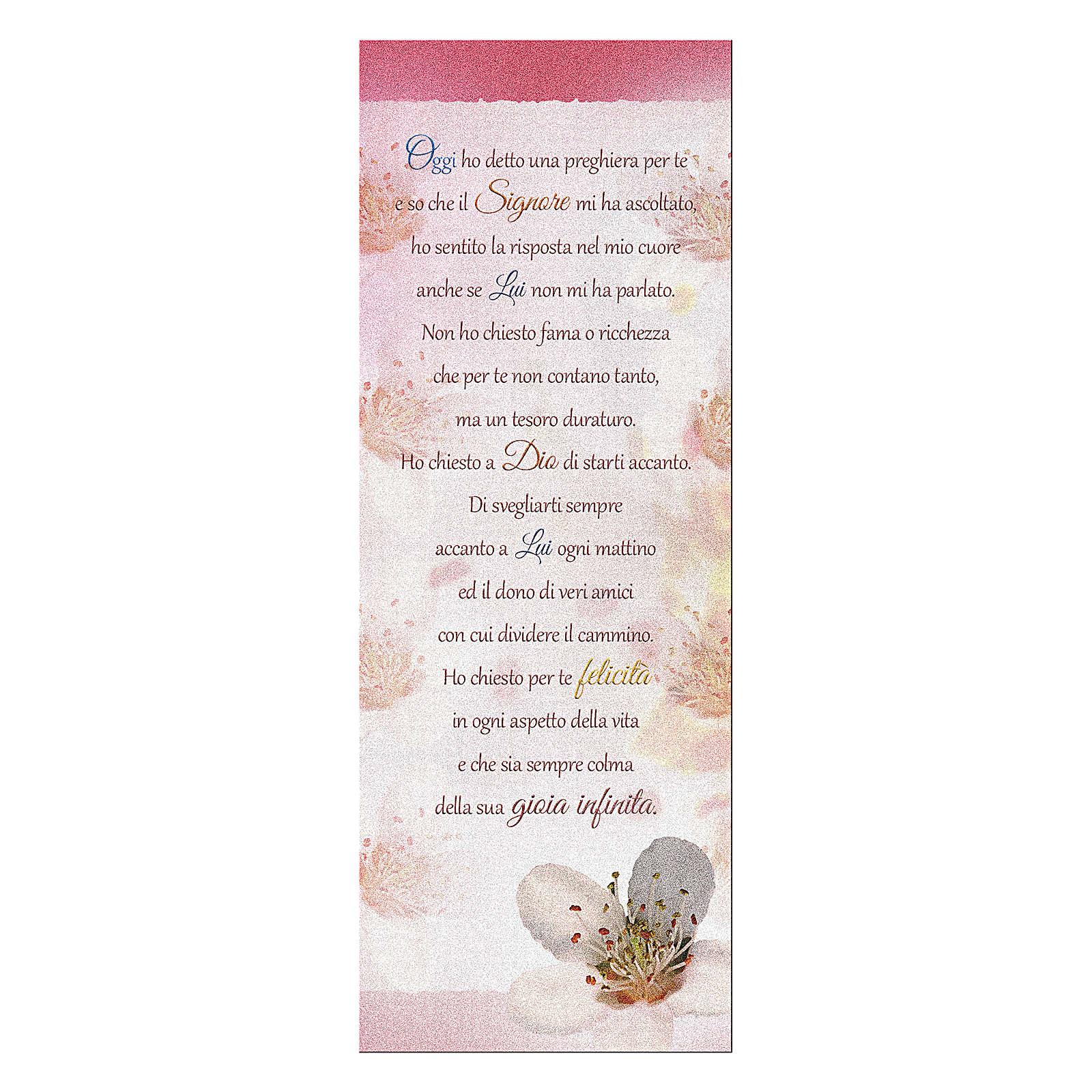 Segnalibro carta perlata Fiore di pesco Preghiera 15x5 cm 4