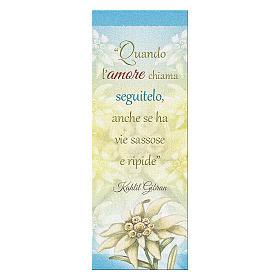 Segnalibro carta perlata Stella Alpina Frase K. Gibran 15x5 cm s1