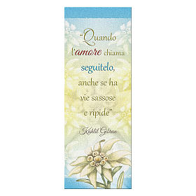 Bookmark in pearl cardboard Edelweiss with sentence of K. Gibran 15x5 cm s1