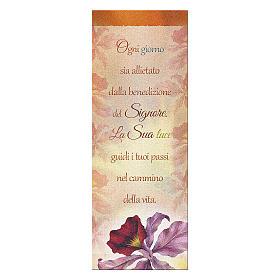 Bookmark in pearl cardboard Orchid Benediction symbol 15x5 cm s1