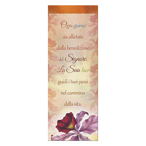 Bookmark in pearl cardboard Orchid Benediction symbol 15x5 cm 1