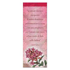 Segnalibro carta perlata Ramo fiorito Frase di K. Gibran 15x5 cm s1