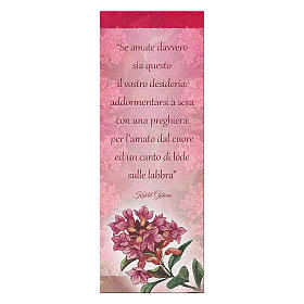 Bookmark in pearl cardboard with flower in bloom and K. Gibran sentence 15x5 cm s1