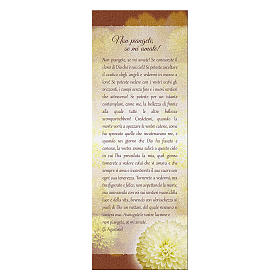 Bookmark in pearl cardboard with chrysanthemum Don't Cry 15x5 cm s1