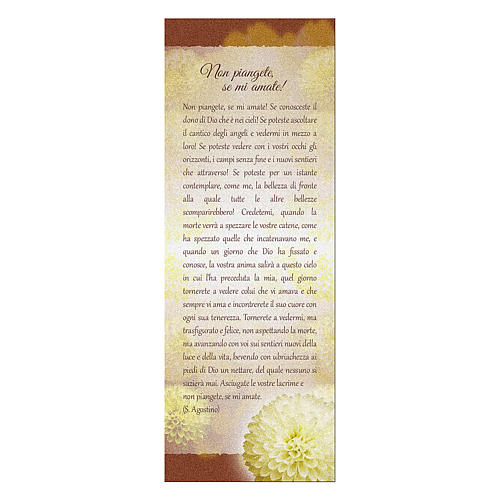 Bookmark in pearl cardboard with chrysanthemum Don't Cry 15x5 cm 1