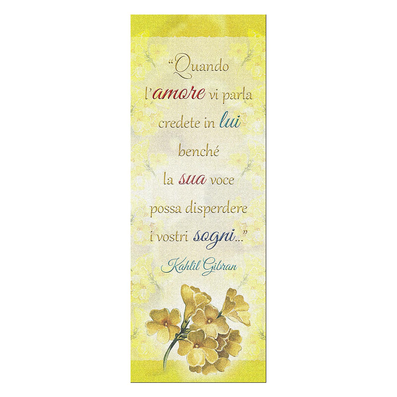 Segnalibro carta perlata Ramo Fiorito Frase Kahlil Gibran 15x5 cm 4