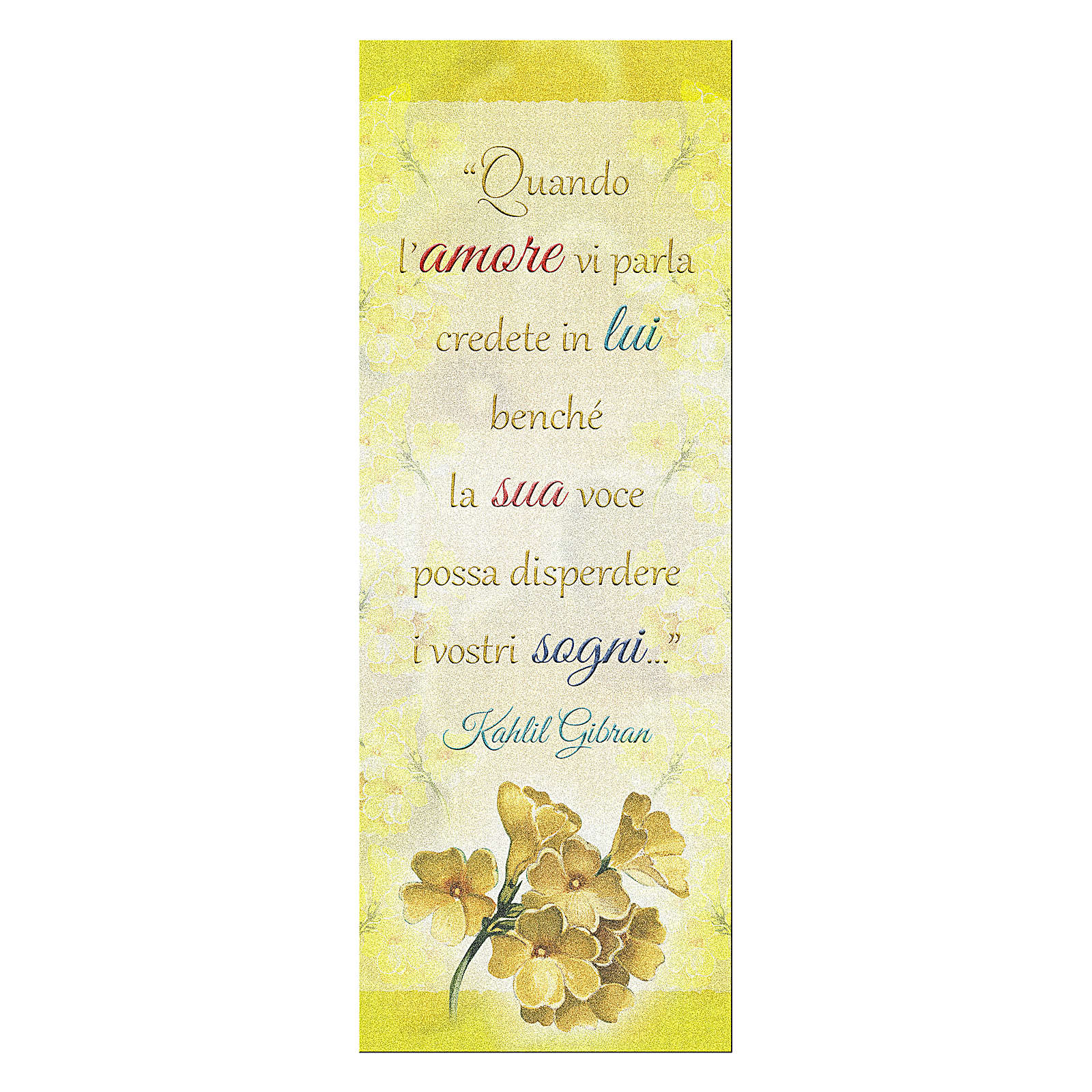 Bookmark in pearl cardboard with branch in bloom image and Kahlil Gibran sentence 15x5 cm 4