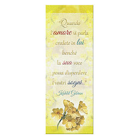 Bookmark in pearl cardboard with branch in bloom image and Kahlil Gibran sentence 15x5 cm s1
