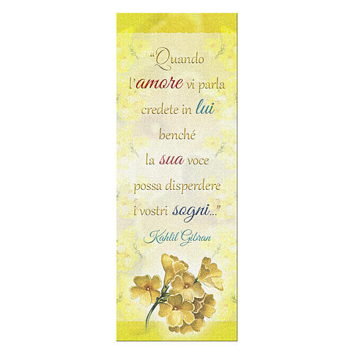 Bookmark in pearl cardboard with branch in bloom image and Kahlil Gibran sentence 15x5 cm 1