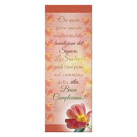Segnalibro carta perlata Fiore Rosso Buon Compleanno 15x5 cm s1