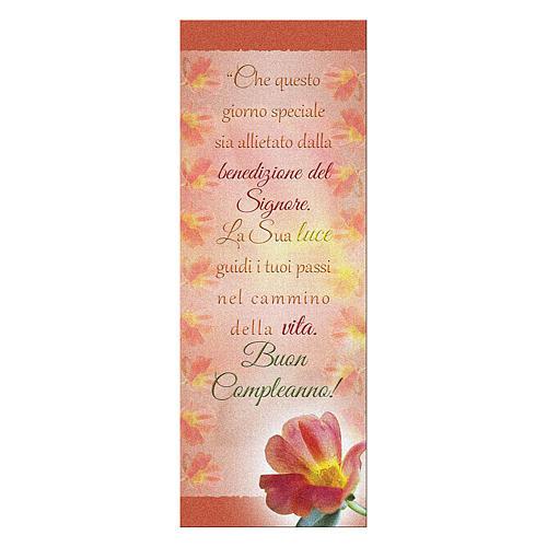 Segnalibro carta perlata Fiore Rosso Buon Compleanno 15x5 cm 1