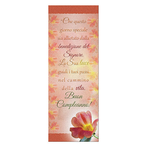 Bookmark in pearl cardboard with Red Flower image Happy Birthday 15x5 cm 1