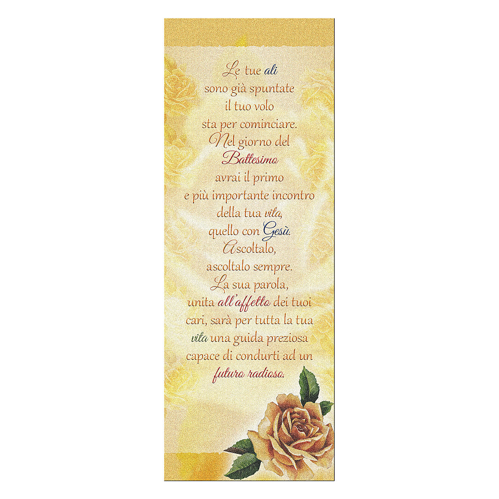 Bookmark in pearl cardboard with yellow rose image and Baptism Wishes 15x5 cm 4