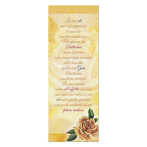 Bookmark in pearl cardboard with yellow rose image and Baptism Wishes 15x5 cm 1