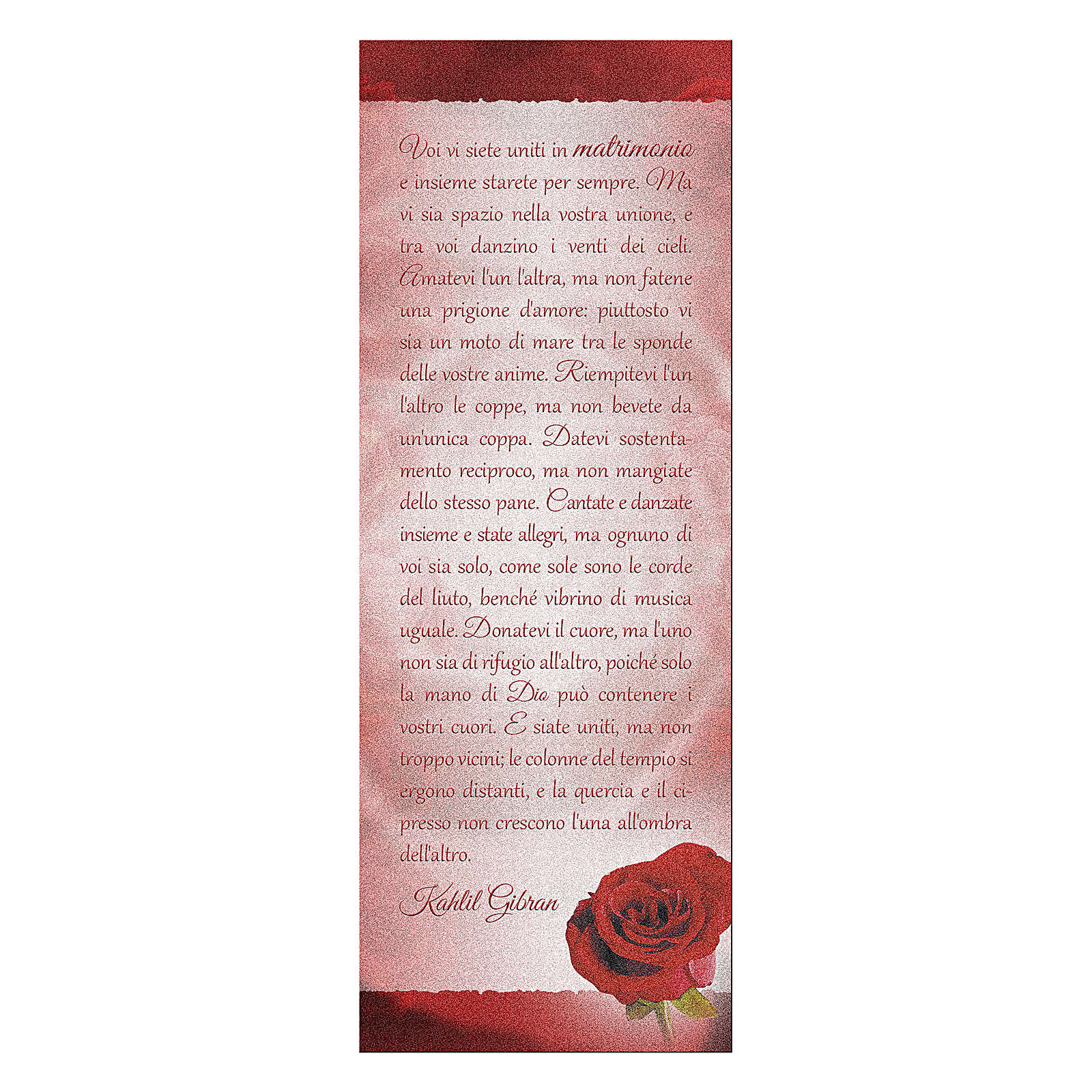 Bookmark in pearl cardboard with red rose image and K. Gibran sentence 15x5 cm 4